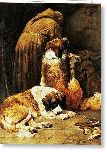 Best Sellers -  - Puppies Greeting Cards - The Faith of Saint Bernard Greeting Card by John Emms