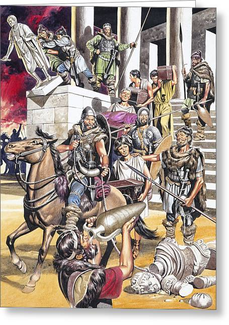 Temple West Greeting Cards - The Fall of the Roman Empire in the West Greeting Card by Ron Embleton