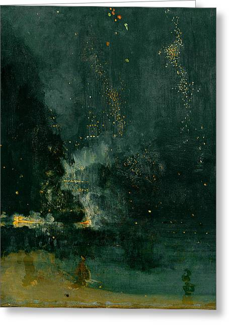 The American Dream Greeting Cards - The Falling Rocket Greeting Card by James Abbott Whistler