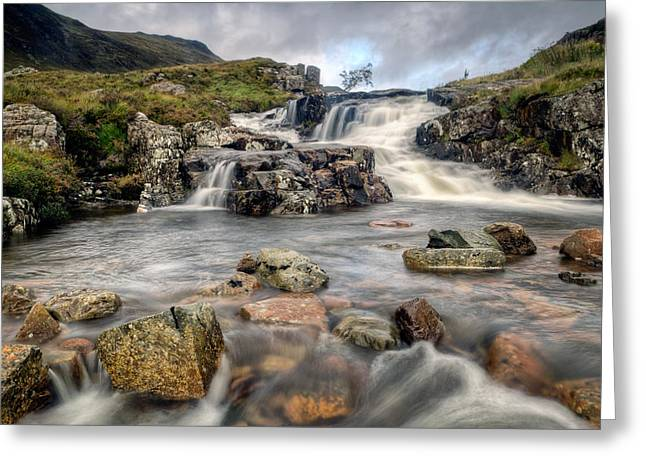 Babbling Greeting Cards - The Falls at Glen Coe Greeting Card by Chris Frost