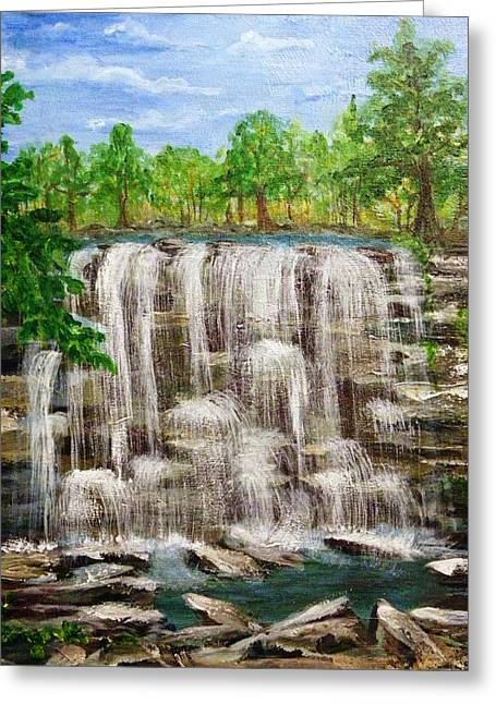 Acylic Greeting Cards - The Falls Greeting Card by Peggy King