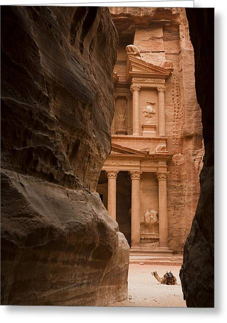 Jordan Photographs Greeting Cards - The Famous Treasury With A Camel Greeting Card by Taylor S. Kennedy