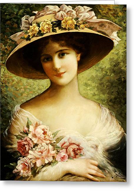 Hat Paintings Greeting Cards - The Fancy Bonnet Greeting Card by Emile Vernon