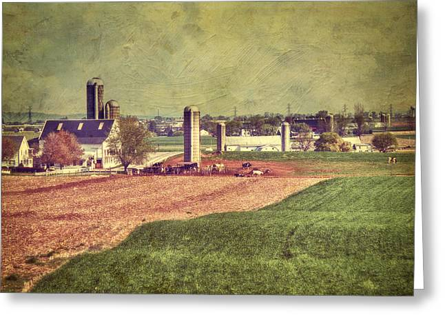 Amish Greeting Cards - The Farm In Lancaster Greeting Card by Kathy Jennings