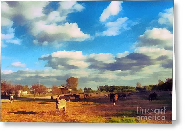 Recently Sold -  - Gold Lame Greeting Cards - The farm Greeting Card by Odon Czintos