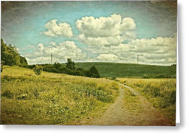 Transmission Greeting Cards - The Farm Road Greeting Card by Mandy Tabatt