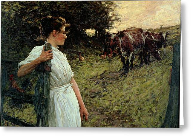 Cart Horse Greeting Cards - The Farmers Daughter Greeting Card by Henry Herbert La Thangue