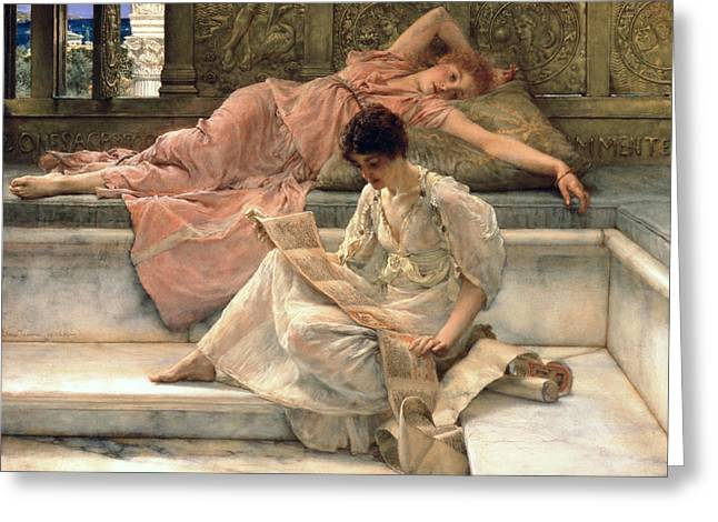 Cushions Greeting Cards - The Favourite Poet Greeting Card by Sir Lawrence Alma-Tadema