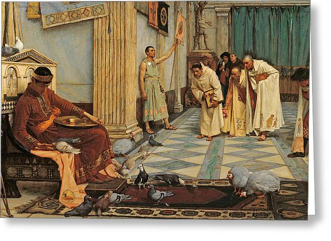 Decadence Greeting Cards - The favourites of Emperor Honorius Greeting Card by John William Waterhouse
