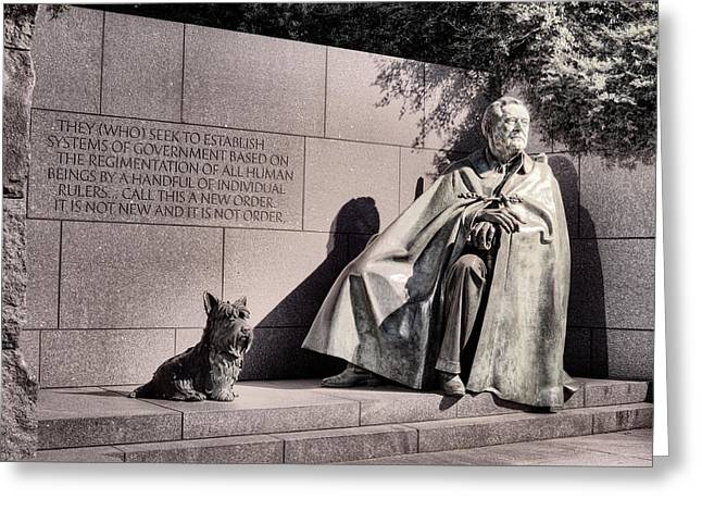 Franklin Roosevelt Photographs Greeting Cards - The FDR Memorial Greeting Card by JC Findley