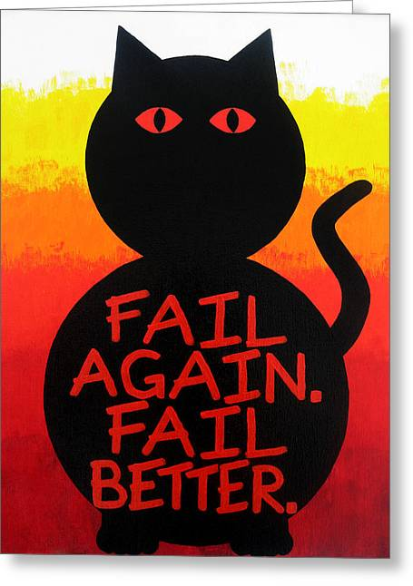 Wow Paintings Greeting Cards - The Fearline of Failure Greeting Card by Oliver Johnston