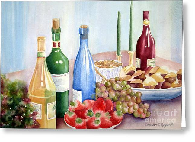 Italian Wine Greeting Cards - The Feast Greeting Card by Deborah Ronglien