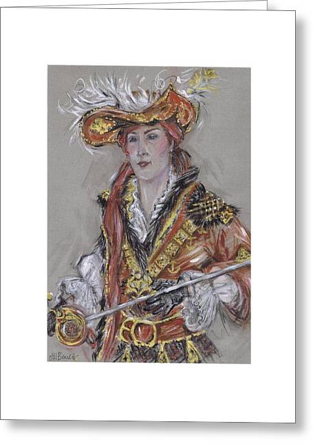 Procession Framed Prints Greeting Cards - The Feathered Hat or El Sombrero Con Plumas Greeting Card by Jill Bennett