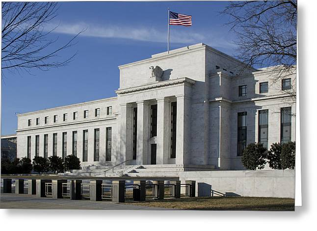 Fed Greeting Cards - The Federal Reserve in Washington DC Greeting Card by Brendan Reals