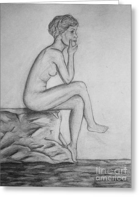 Pondering Drawings Greeting Cards - The Female Thinker Greeting Card by R B