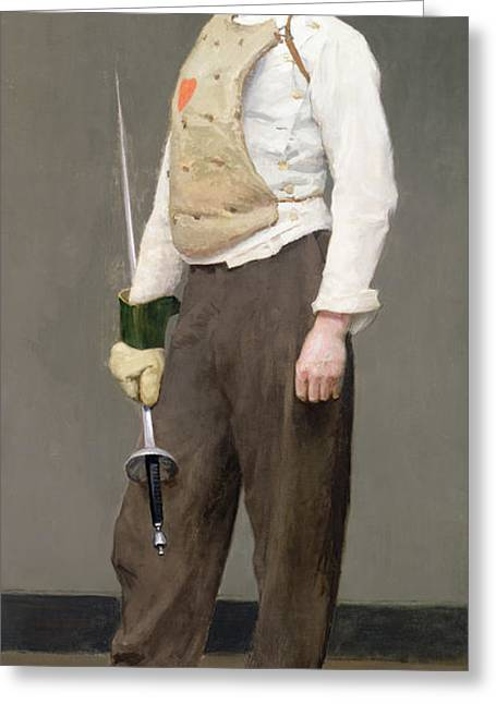 The Masters Greeting Cards - The Fencing Master Greeting Card by Julius Gari Melchers