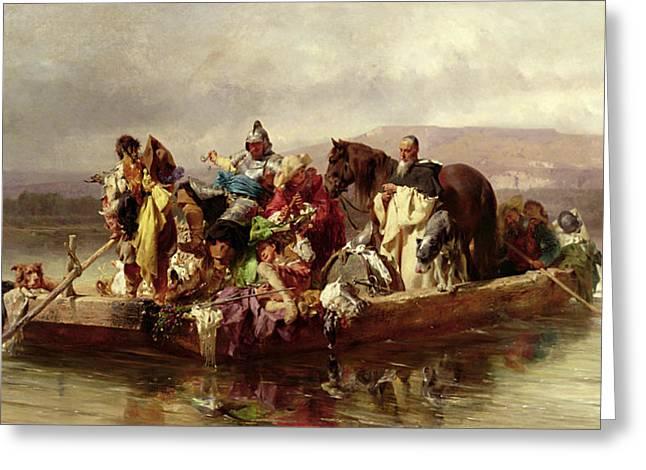 Till Johann 1827-94 Greeting Cards - The Ferry  Greeting Card by Johann Till