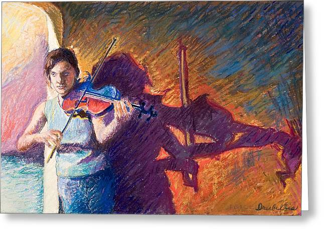 Performers Pastels Greeting Cards - The Fiddler from Julliard Greeting Card by Ellen Dreibelbis