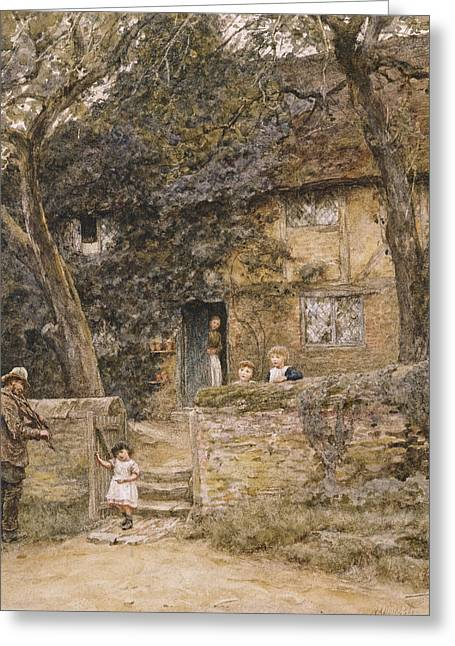 Boundaries Greeting Cards - The Fiddler Greeting Card by Helen Allingham