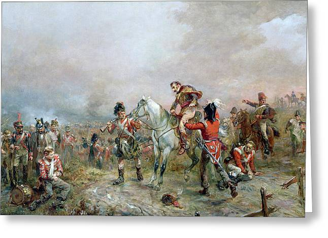 Bayonet Paintings Greeting Cards - The Field at Waterloo Greeting Card by Robert Alexander Hillingford