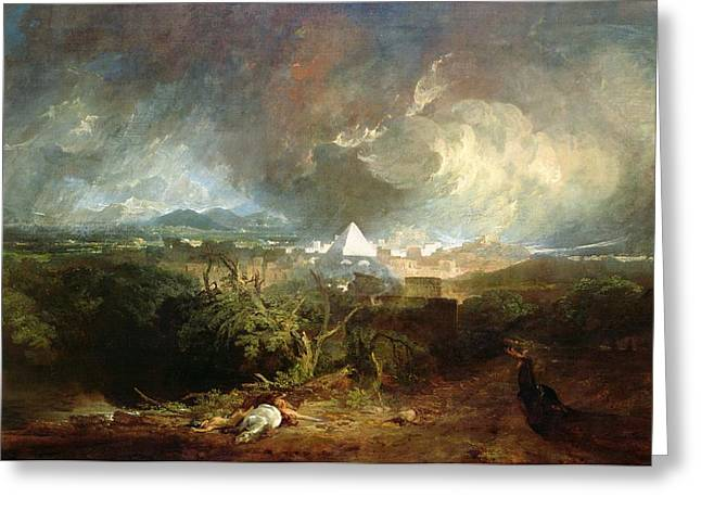 Pyramid Paintings Greeting Cards - The Fifth Plague of Egypt Greeting Card by Joseph Mallord William Turner