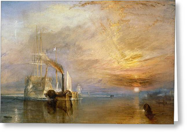 1851 Greeting Cards - The Fighting Temeraire Tugged to her Last Berth to be Broken up Greeting Card by Joseph Mallord William Turner