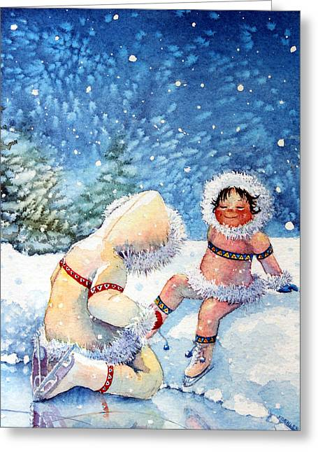 Order Kids Book Illustrations Greeting Cards - The Figure Skater 1 Greeting Card by Hanne Lore Koehler