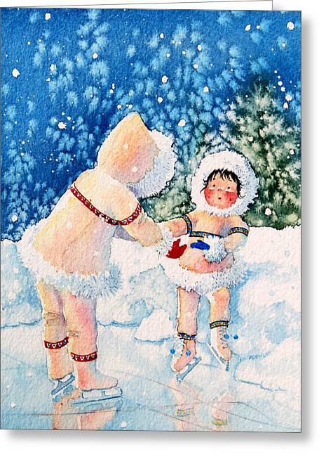 Order Kids Book Illustrations Greeting Cards - The Figure Skater 2 Greeting Card by Hanne Lore Koehler