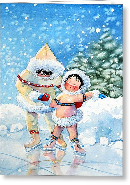 Order Kids Book Illustrations Greeting Cards - The Figure Skater 3 Greeting Card by Hanne Lore Koehler
