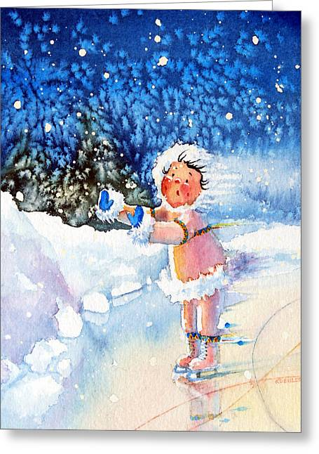 Order Kids Book Illustrations Greeting Cards - The Figure Skater 5 Greeting Card by Hanne Lore Koehler