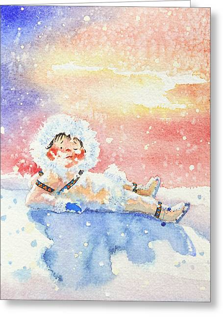 Order Kids Book Illustrations Greeting Cards - The Figure Skater 6 Greeting Card by Hanne Lore Koehler