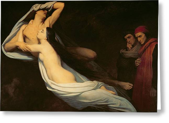 Virgil Greeting Cards - The figures of Francesca da Rimini and Paolo da Verrucchio appear to Dante and Virgil Greeting Card by Ary Scheffer