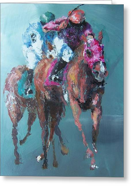 Horse Racing Prints Greeting Cards - The Final Stretch Greeting Card by John Henne