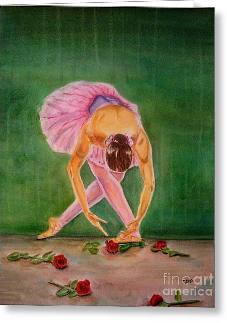 Dance Ballet Roses Paintings Greeting Cards - The Finale Greeting Card by Bonnie Schallermeir