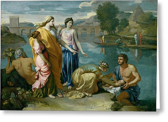 Pyramid Paintings Greeting Cards - The Finding of Moses Greeting Card by Nicolas Poussin