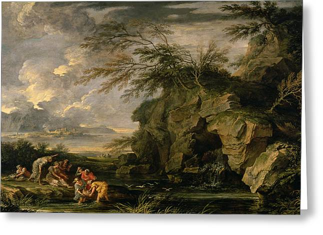 The Finding of Moses Greeting Card by Salvator Rosa