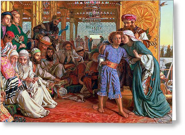 Messiah Greeting Cards - The Finding of the Savior in the Temple Greeting Card by William Holman Hunt