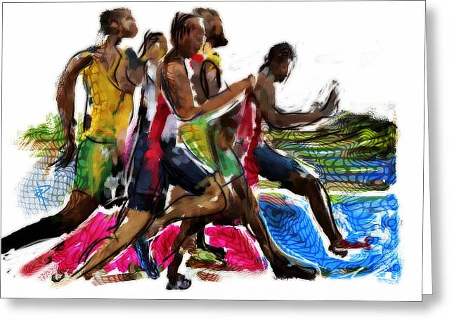 Runner Greeting Cards - The Finish Line Greeting Card by Russell Pierce