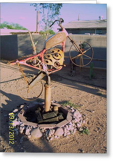 Garden Sculptures Greeting Cards - The Fire Bike Greeting Card by JP Giarde