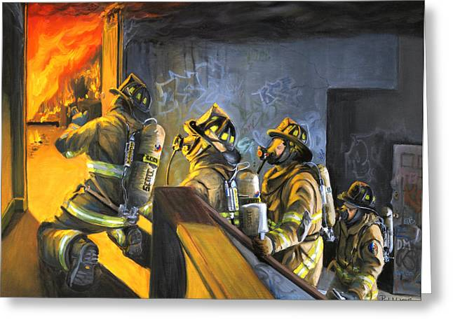 Firefighters Greeting Cards - The Fire Floor Greeting Card by Paul Walsh