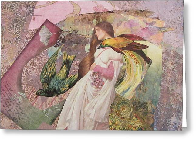 Distortion Mixed Media Greeting Cards - The Firebird s Pursuit  Greeting Card by Kanchan Mahon
