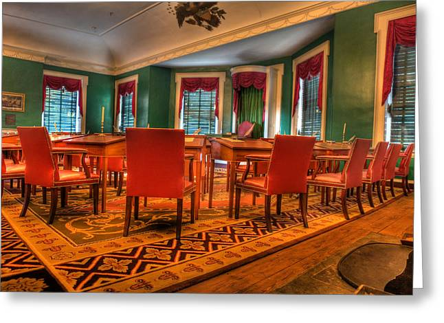 Independance Greeting Cards - The First American Congress Senate Chamber - Independence Hall - Congress Hall -  Greeting Card by Lee Dos Santos