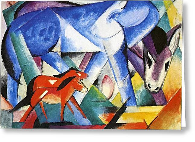 Expressionist Horse Greeting Cards - The First Animals Greeting Card by Franz Marc