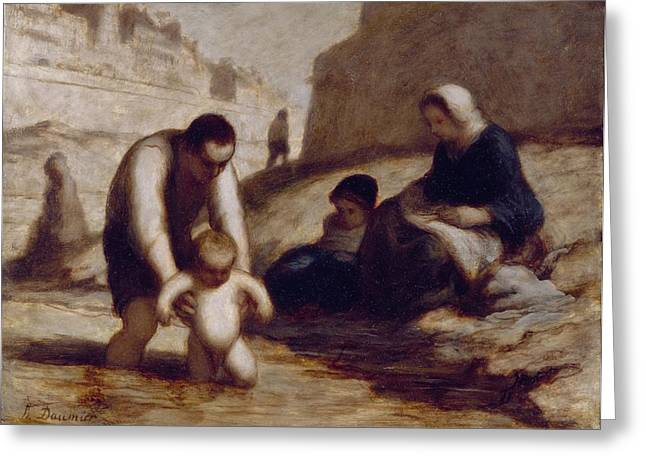 Daddy Greeting Cards - The First Bath  Greeting Card by Honore Daumier