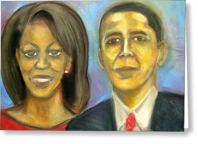 Michelle Obama Drawings Greeting Cards - The First Couple Greeting Card by Jan Gilmore