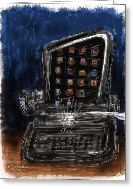 Typewriter Mixed Media Greeting Cards - The first iPad Greeting Card by Russell Pierce