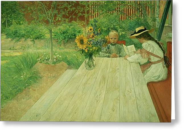 Sun Hat Greeting Cards - The First Lesson Greeting Card by Carl Larsson