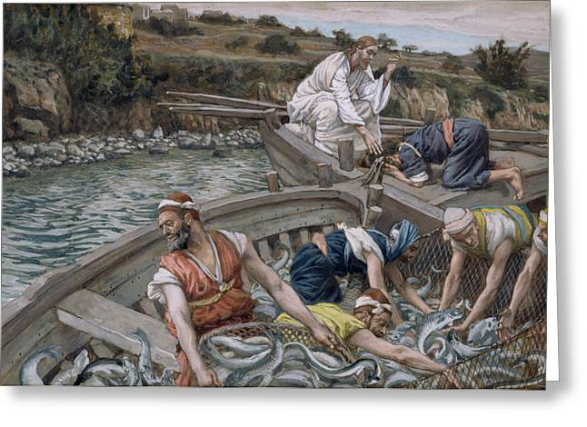 Religious Paintings Greeting Cards - The First Miraculous Draught of Fish Greeting Card by Tissot
