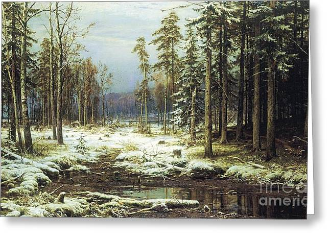 The First Snow Greeting Card by Pg Reproductions