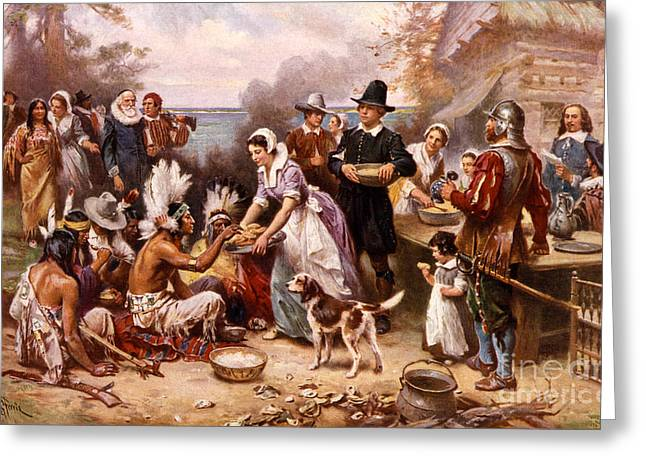 Banquet Greeting Cards - The First Thanksgiving 1621 Greeting Card by Photo Researchers